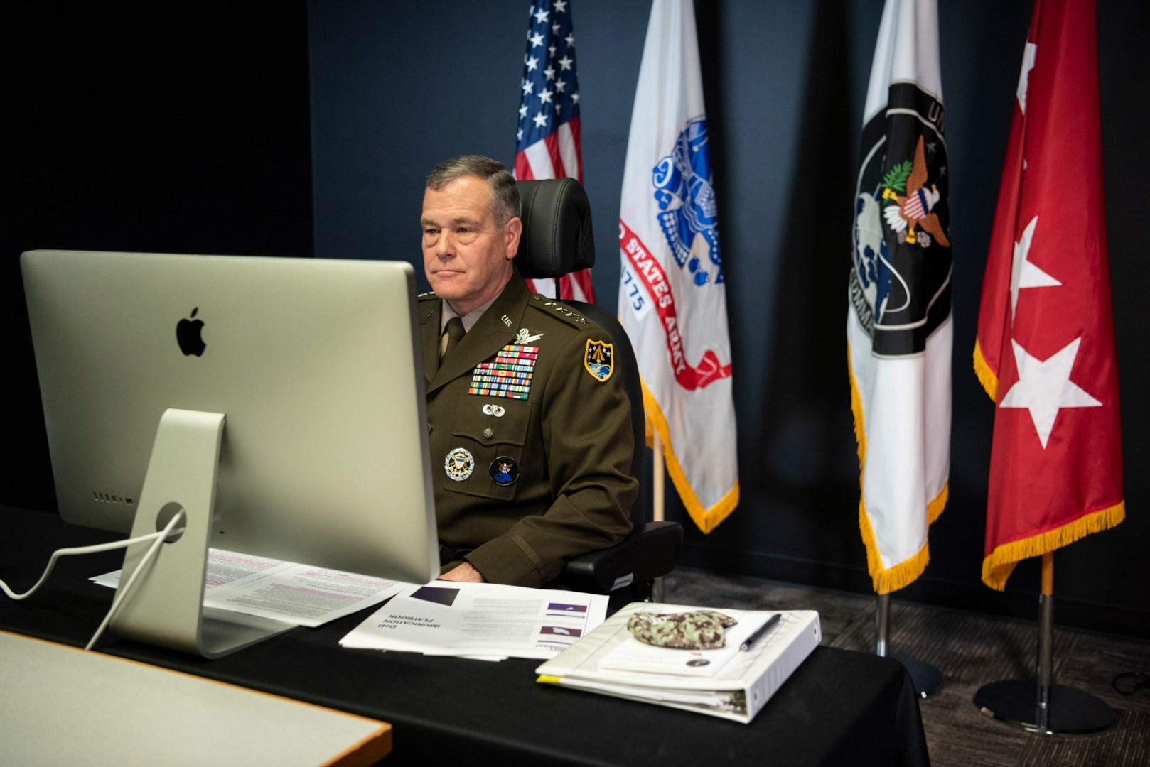 U.S. Army Gen. James H. Dickinson, USSPACECOM commander, participates in a virtual Space Symposium 365 event Nov. 5, 2020, at the combatant command's headquarters at Peterson Air Force Base, Colorado.