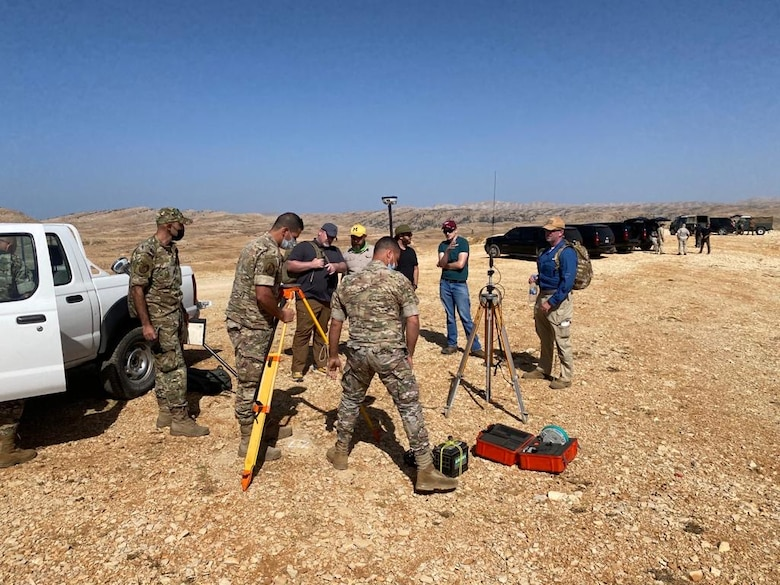 Engineers from the U.S. Army Corps of Engineers Middle East District conduct a site survey with members of the Lebanese Armed forces during a visit to Lebanon in October 2020.