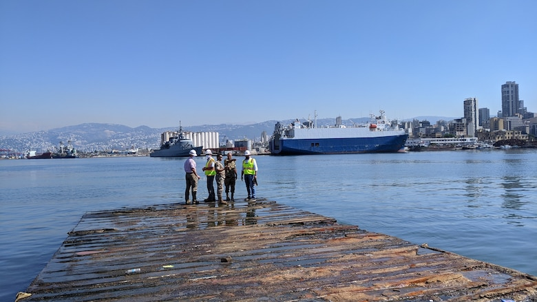Engineers from the U.S. Army Corps of Engineers Middle East District and members of the Lebanese Armed Forces survey the port at Tripoli Naval Base during a visit in October 2020.