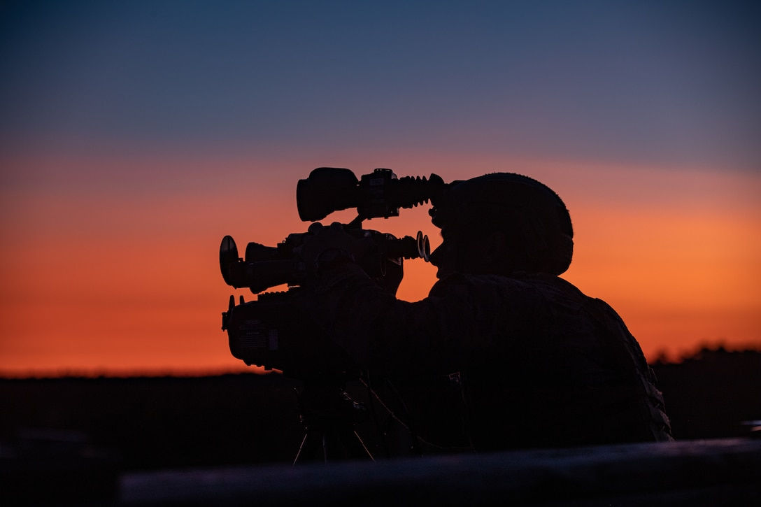 A U.S. Marine rehearses his skills on night observation equipment during Tactical Air Control Party 1-21 on Camp Lejeune, N.C., Nov. 3.