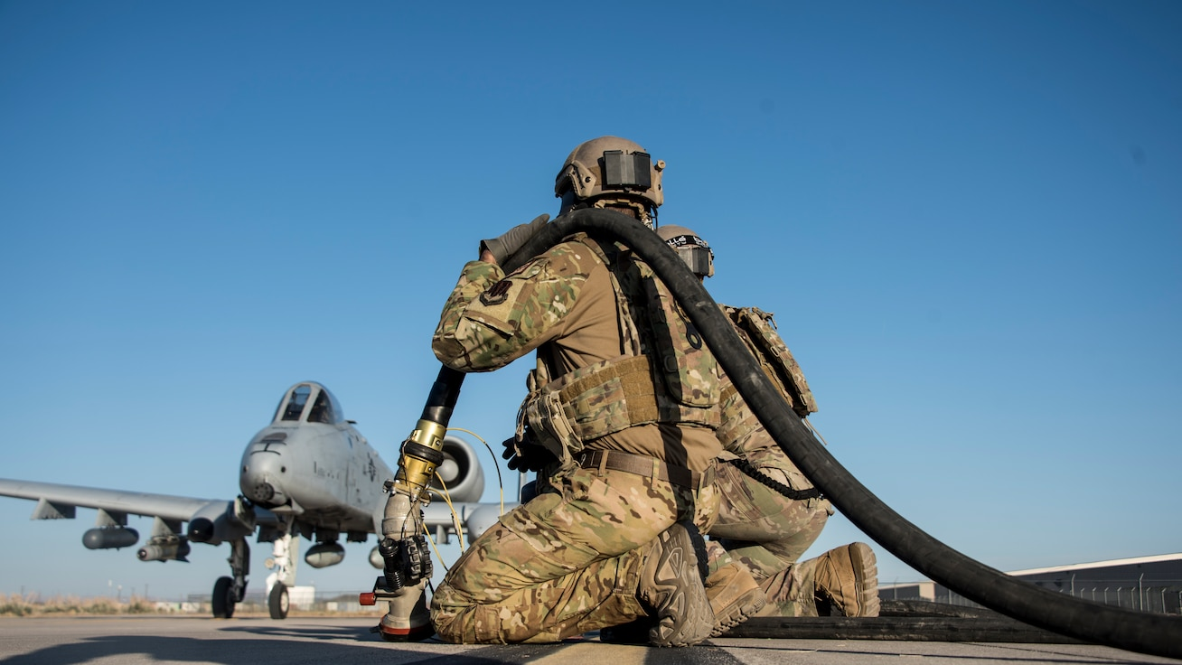 A photo of an Airman performing a FARP mission