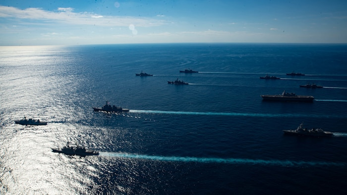 U.S. Navy ships assigned to the Ronald Reagan Carrier Strike Group joined ships of Japan Maritime Self-Defense Force (JMSDF) Escort Flotilla 1, Escort Flotilla 4, and the Royal Canadian Navy in formation during Keen Sword 21.