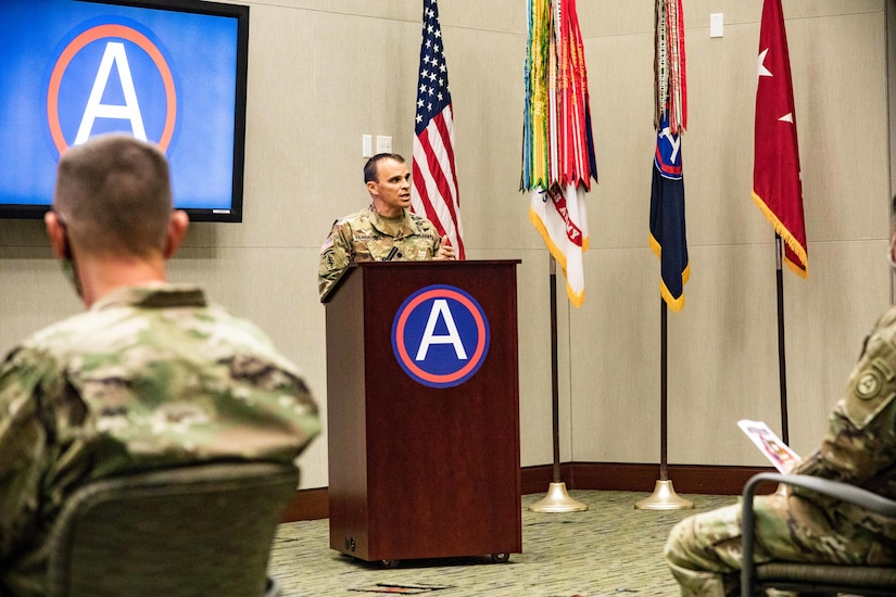 Lt. Col. Stephen Flanagan, Headquarters and Headquarters Battalion Commander, speaks during a ceremony honoring USARCENT's 102nd birthday on Nov.6, 2020 at U.S. Army Central headquarters, on Shaw Air Force Base, S.C.
