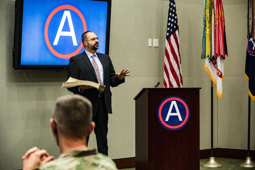 U.S. Army Central command historian, Michael Clauss, speaks to the audience about the history of Third Army during a ceremony honoring USARCENT's 102nd birthday on Nov.6, 2020 at U.S. Army Central headquarters on Shaw Air Force Base, S.C.