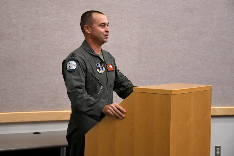 Lt. Col. Matthew Howard delivers his speech during his assumption of command ceremony for the 110th Bomb Squadron, Oct. 24, 2020, at The Technical Sergeant Luke C.A. Ford Auditorium on Whiteman Air Force Base, Mo. (U.S. Air National Guard photo by Staff Sgt. Joshua Colligan)