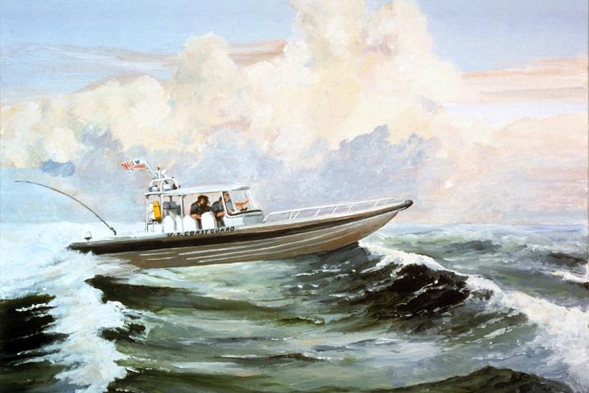 A Coast Guard vessel cruises the ocean.
