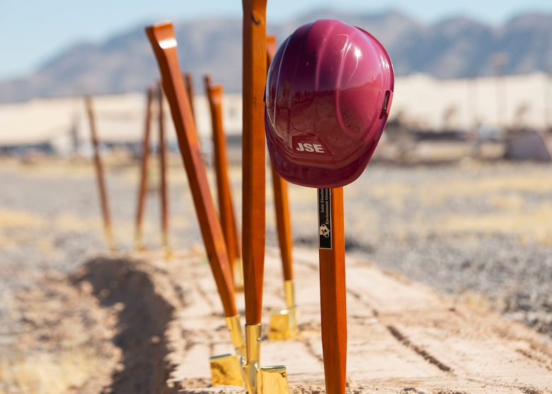 Photos of helmets and shovels for the JSE Groundbreaking Ceremony