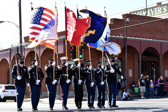 Goodfellow Joint Service Color Guard led the Veterans Day Parade in downtown San Angelo, Texas, Nov., 7, 2020. Goodfellow has detachments for the Army, Navy and Marine Corps that train in the various courses instructed on base. (U.S. Air Force photo by Staff Sgt. Seraiah Wolf)
