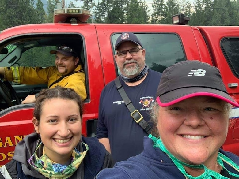 Kyle Anderson and some of his teammates from the Pleasant Hill – Goshen Fire Station who worked the Holiday Farm wildfire together.