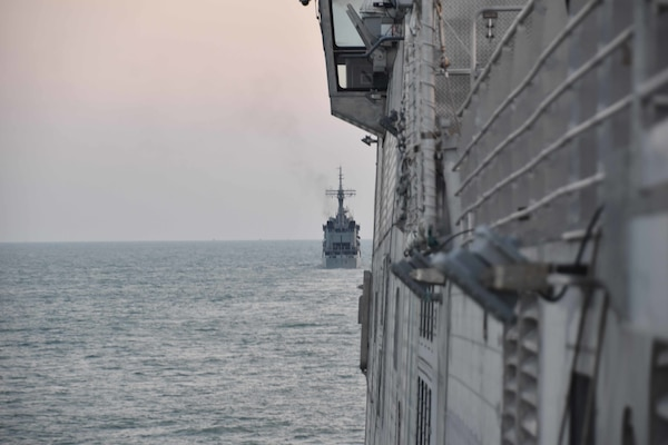 BAY OF BENGAL (Nov. 5, 2020) Ships from the Bangladesh Navy meet with USNS Millinocket (T-EPF 3) in the Bay of Bengal as part of the sea phase of Cooperation Afloat Readiness and Training (CARAT) Bangladesh 2020. This year marks the 26th iteration of CARAT, a multinational exercise designed to enhance U.S. and partner navies' abilities to operate together in response to traditional and non-traditional maritime security challenges in the Indo-Pacific region.