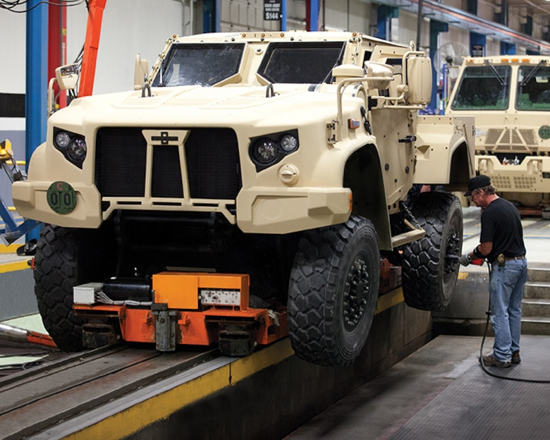 A Joint Light Tactical Vehicle on a production line. The new vehicle will begin replacing up-armored High Mobility Multipurpose Wheeled Vehicles, better known as Humvees in 2021.