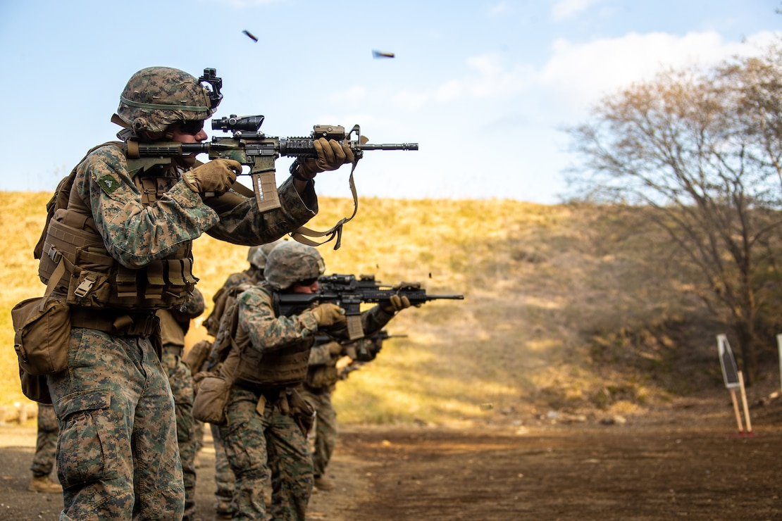 U.S. Marines participate in advanced marksmanship drills during exercise Fuji Viper 21.1 at Combined Arms Training Center, Camp Fuji, Japan, on Oct. 29.