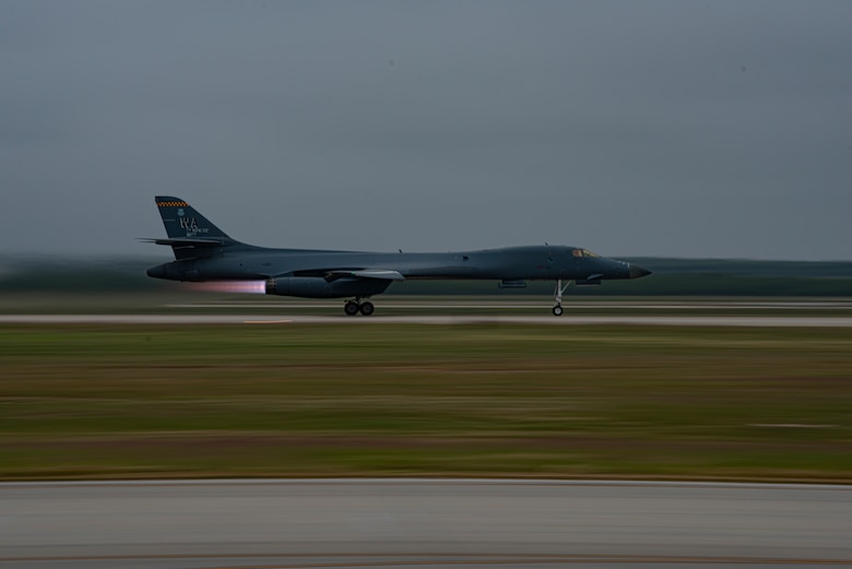 A B-1B Lancer takes off at Dyess Air Force Base, Texas, Oct. 19, 2020. The multi-mission B-1 is capable of carrying the largest payload of both guided and unguided conventional weapons in the U.S. Air Force inventory. (U.S. Air Force photo by Airman 1st Class Colin Hollowell)