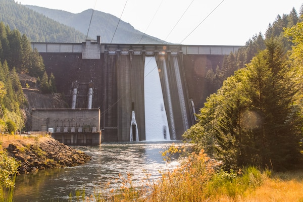 U.S. Army Corps of Engineers managers also adjust operations, when water levels make it possible, by releasing water through Detroit Dam's spillways during summer months to make downstream water temperatures and habitat better for salmon survival. (U.S. Army photo by Jeremy Bell).