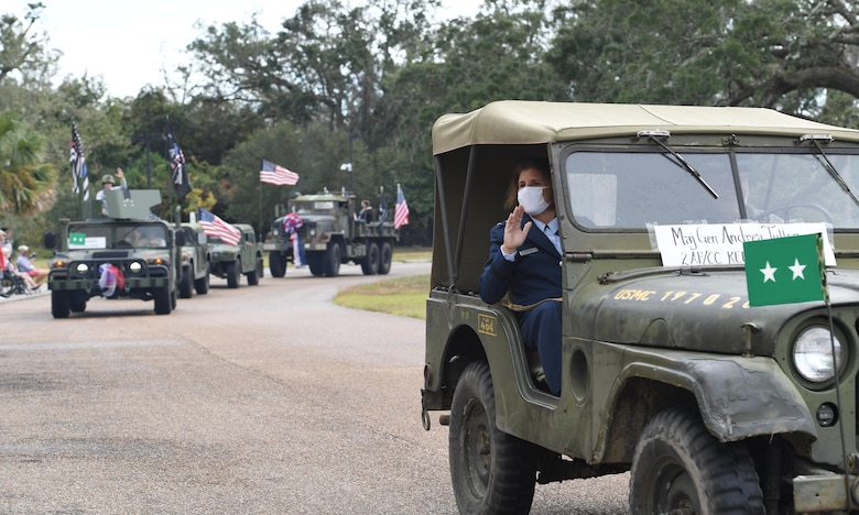U.S. Air Force Maj. Gen. Andrea Tullos, Second Air Force commander, waves to veterans during the Gulf Coast Veteran's Day Roll-Thru and Wave Parade outside the Armed Forces Retirement Home at Gulfport, Mississippi, Nov. 7, 2020. Keesler Air Force Base leadership participated in the parade in support of all veterans past and present. (U.S. Air Force photo by Kemberly Groue)