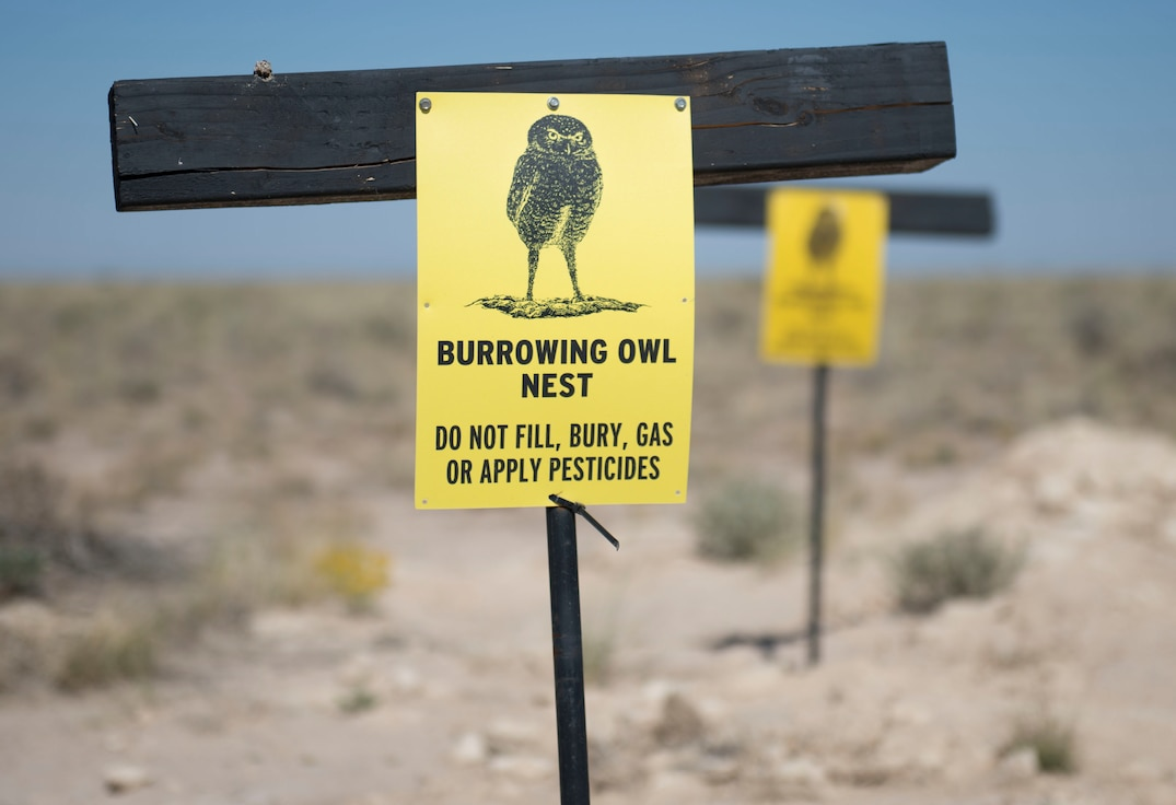Warning signs are displayed near an artificial owl burrow, Oct. 22, 2020, on Holloman Air Force Base, New Mexico. Artificial burrows were built away from hazardous areas on base to encourage owls to live in a safer setting. (U.S. Air Force photo by Airman 1st Class Quion Lowe)