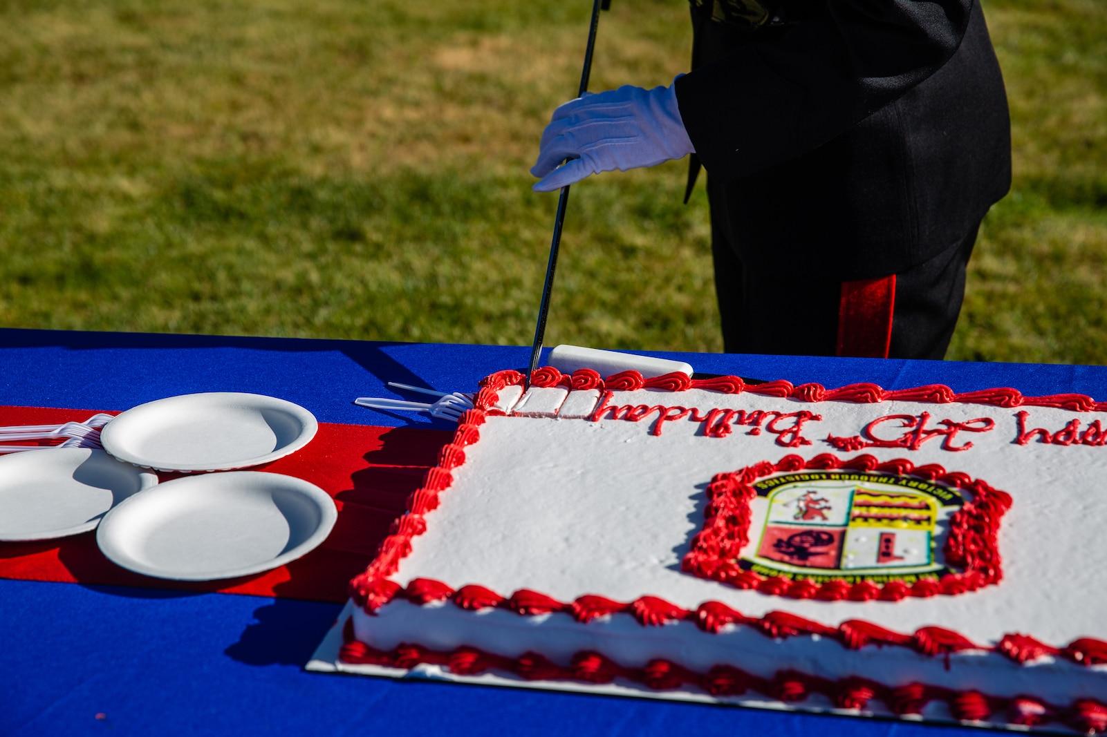 U.S. Marine Corps Brig. Gen. Bobbi Shea, commanding general, 1st Marine Logistics Group, I Marine Expeditionary Force, cuts the cake during the 1st MLG Cake-Cutting Ceremony at Camp Pendleton California, Nov. 9, 2020.