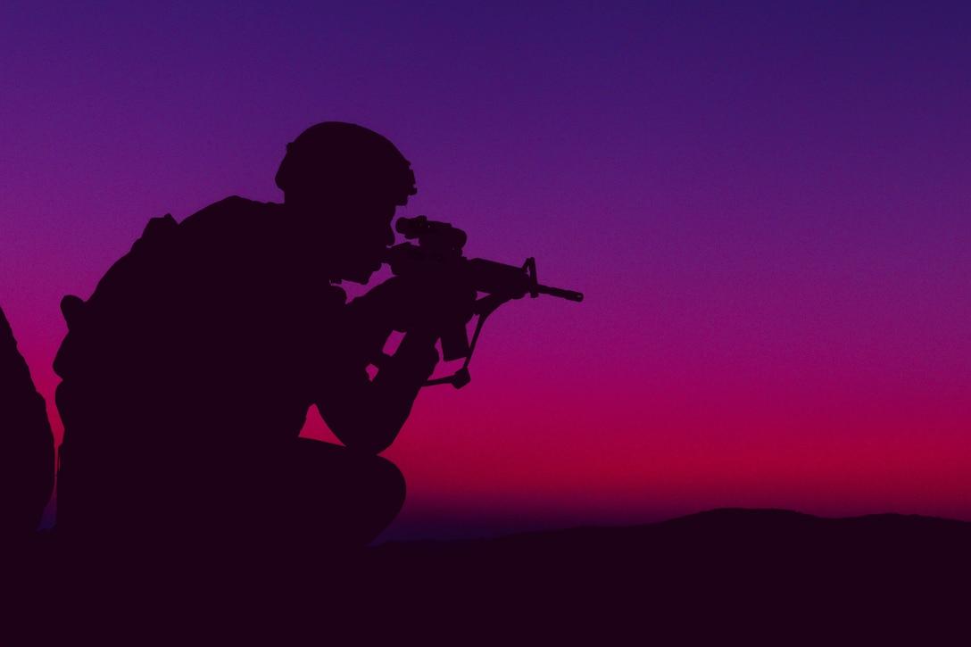 A U.S. Marine participates in training at Marine Air Ground Combat Center Twentynine Palms, Calif., Oct. 2.