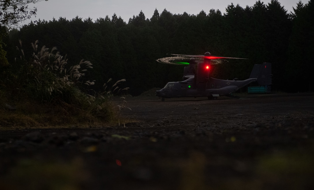 A CV-22 Osprey, assigned to the 353rd Special Operations Group, arrives at a landing zone during a search and rescue training as part of exercise Keen Sword 21