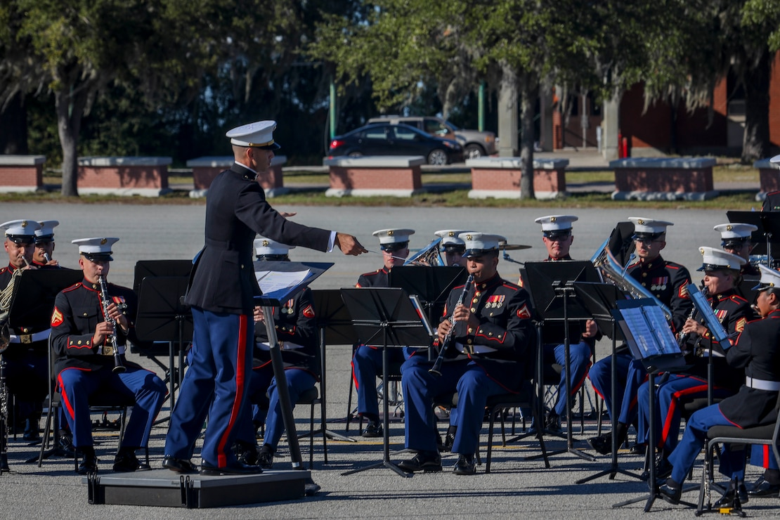 The Parris Island Marine Band performs during the annual Marine Corps Recruit Depot Parris Island Birthday Pageant at the Peatross Parade Deck aboard MCRDPI, S.C., Nov. 4.