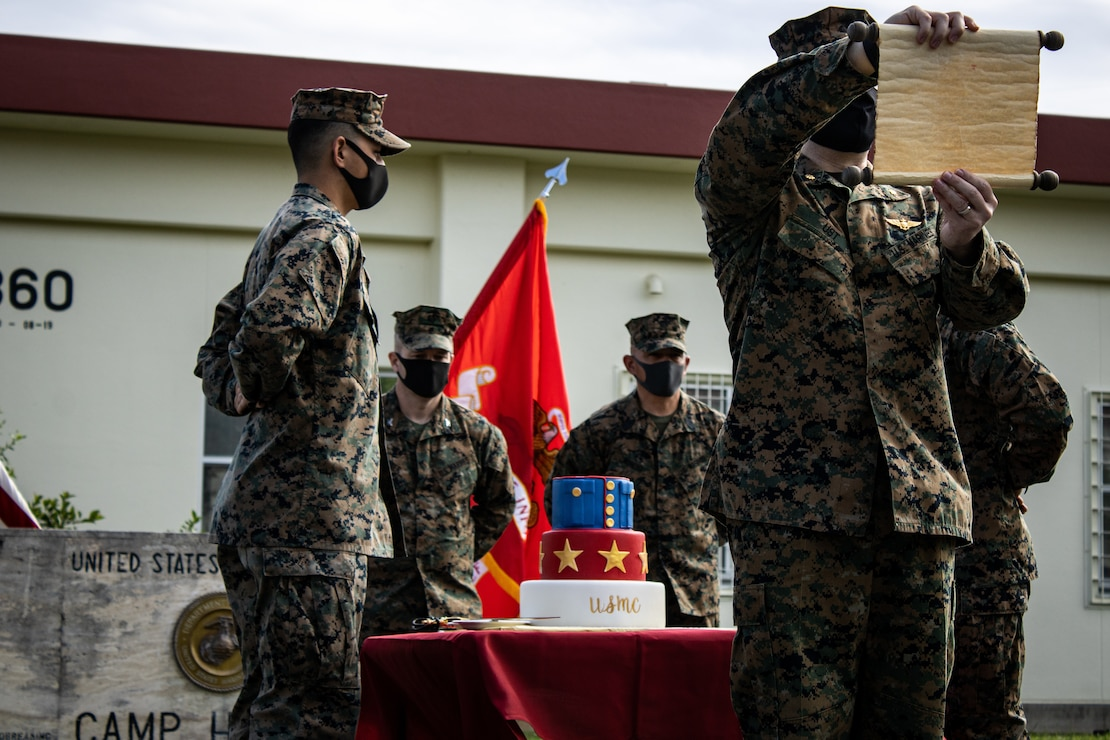 U.S. Marines conduct a cake cutting ceremony on Camp Hansen, Okinawa, Japan, Nov. 9.