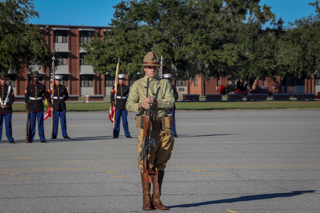 U.S. Marines reenact Marines from the past during the annual MCRDPI Birthday Pageant at the All Peatross Parade Deck aboard MCRDPI, S.C., Nov. 4.