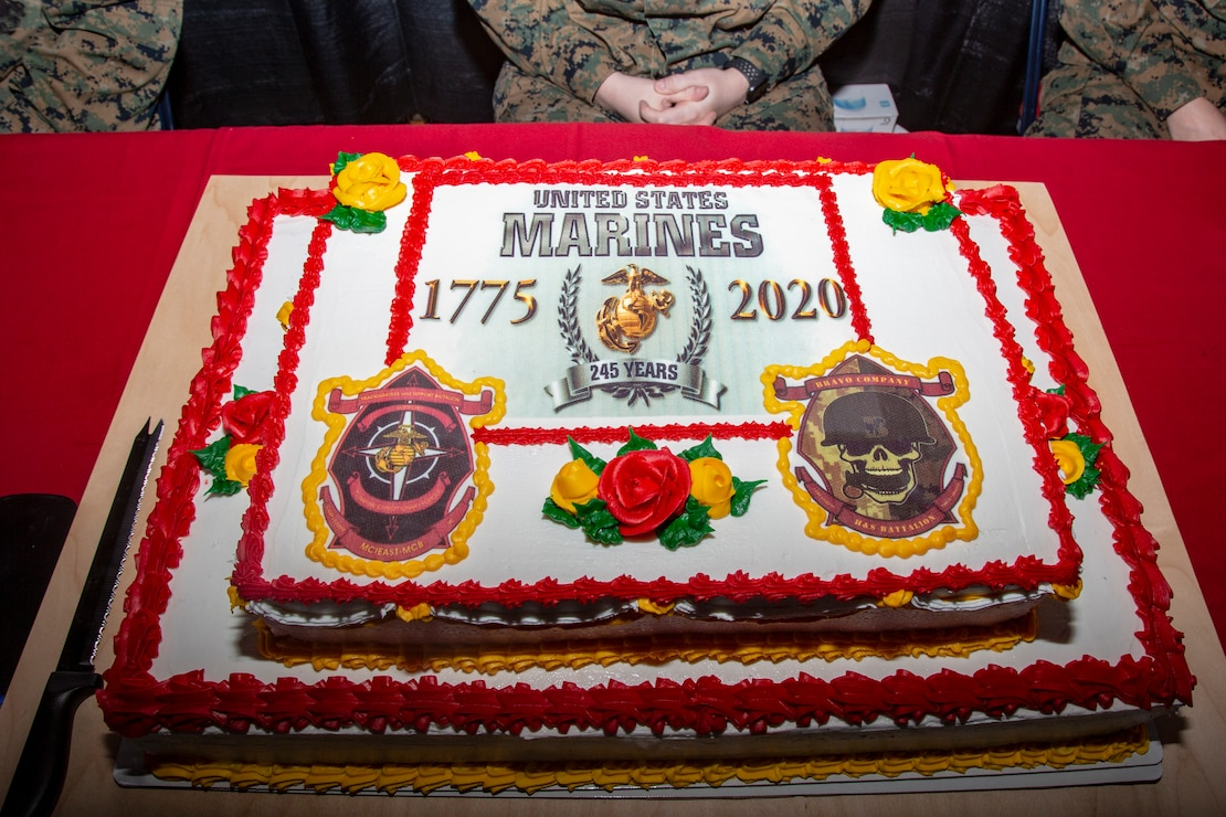 U.S. Marines celebrate the 245th Marine Corps Birthday with a cake cutting ceremony at the Goettge Memorial Field House on MCB Camp Lejeune, North Carolina, Nov. 5.