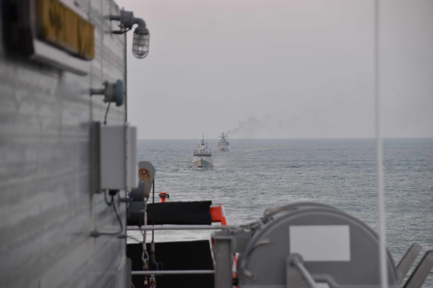 Ships from the Bangladesh Navy meet with USNS Millinocket (T-EPF 3) in the Bay of Bengal as part of the sea phase of Cooperation Afloat Readiness and Training (CARAT) Bangladesh 2020.