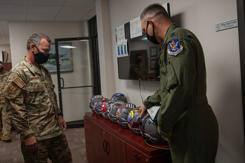 Photo of an Airman showing Maj. Gen. Franks new helmet wraps