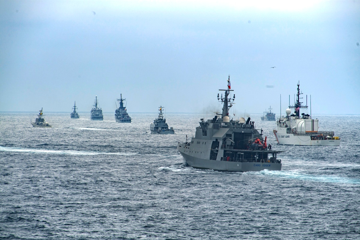 International naval ships train during UNITAS LXI.