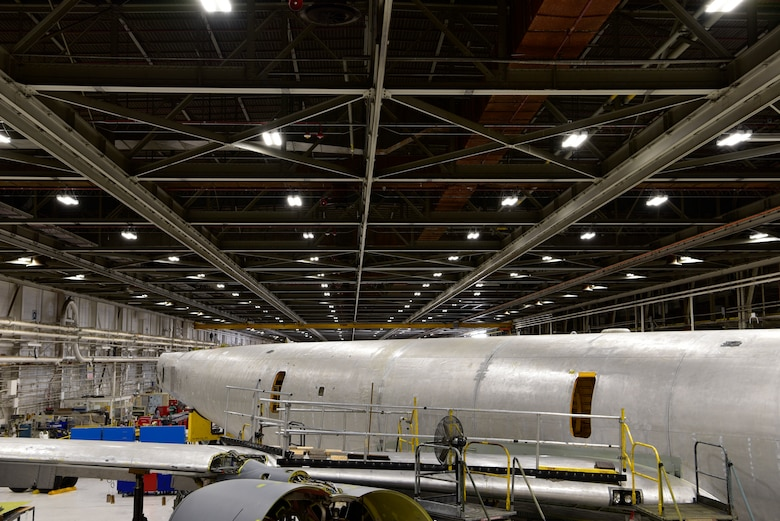 This view from Docks 9-12 in Building 3001 shows a 1958 model KC-135 in for programmed depot maintenance.