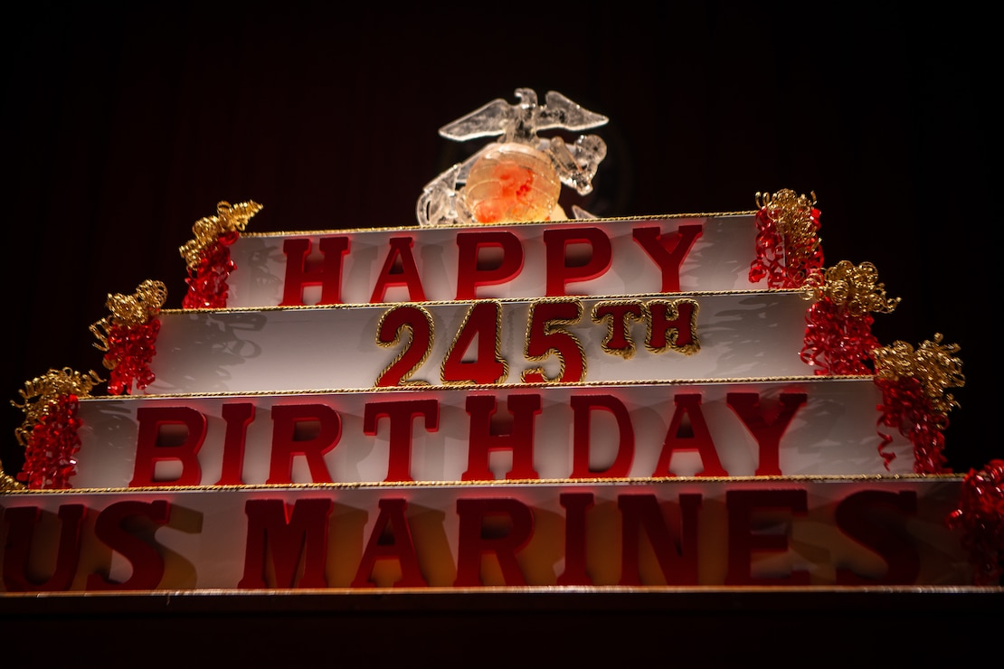 U.S. Marines display the traditional birthday cake during the Marine Corps birthday pageant at the Pendleton Theater & Training Center on MCB Camp Pendleton, Calif., Nov. 9.