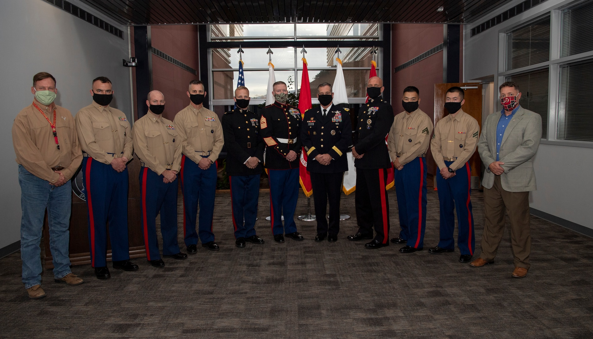 U.S. Space Command hosted a U.S. Marine Corps birthday celebration Nov. 6 at Peterson Air Force Base, Colorado. In attendance were U.S. Army Gen. James Dickinson, USSPACECOM commander; Marine Corps Brig. Gen. Joseph Matos, USSPACECOM command, control, communications, computers and cyber director; and Master Gunnery Sgt. Scott Stalker, USSPACECOM command senior enlisted leader. Also participating were current and former Marines serving in USSPACECOM headquarters. The U.S. Marine Corps turned 245 years old Nov. 10, 2020.