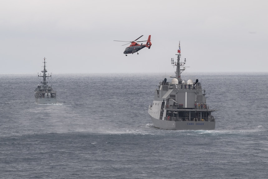 Chilean Navy vessel, Cabo Odger (OPV 84)  launches a helicopter during a training exercise for UNITAS LXI off the coast of Manta, Ecuador, Nov. 7, 2020.