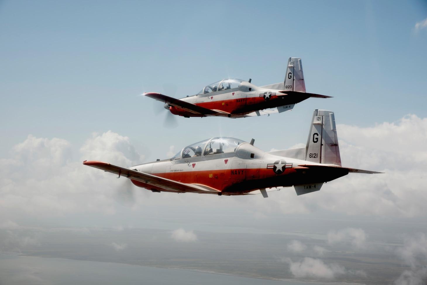 Student naval aviators conduct a formation flight in T-6B Texan II aircraft.