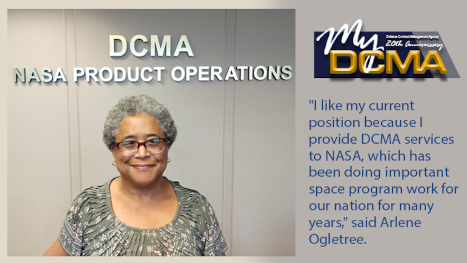 Smiling lady wearing a green and white shirt stands in front of a wall with the DCMA NASA Product Operations sign in the background