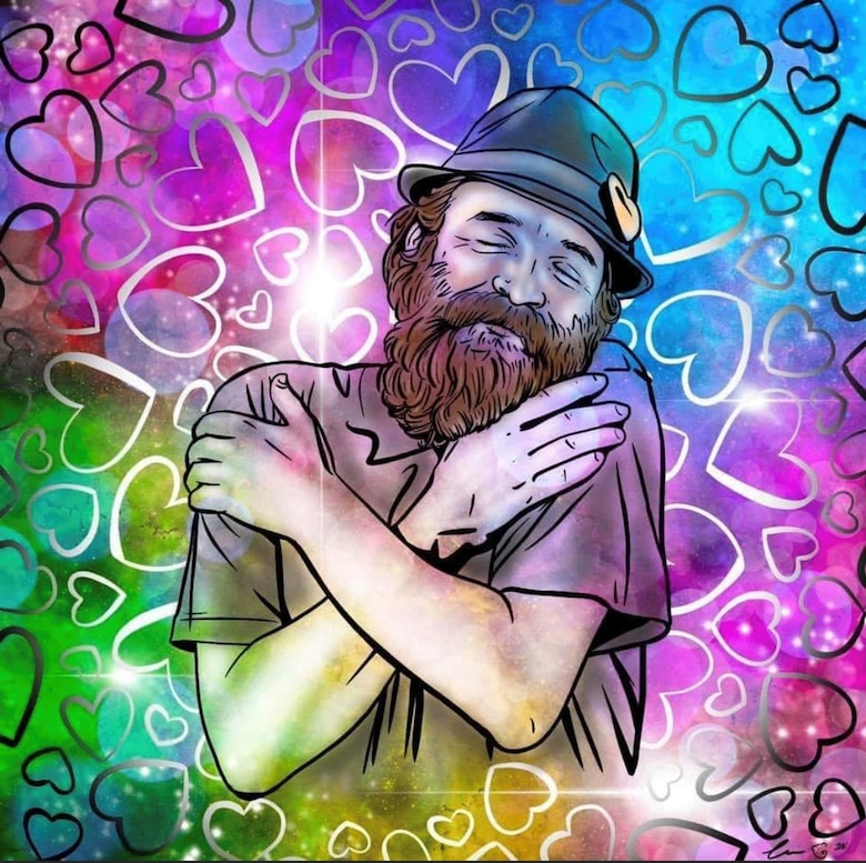 """An artist and friend of Johnson's, Corinne Dermond, drew this picture of Johnson. According to Johnson, it sums up his 10-year journey of healing. """"It boils down to loving myself more,"""" he said."""