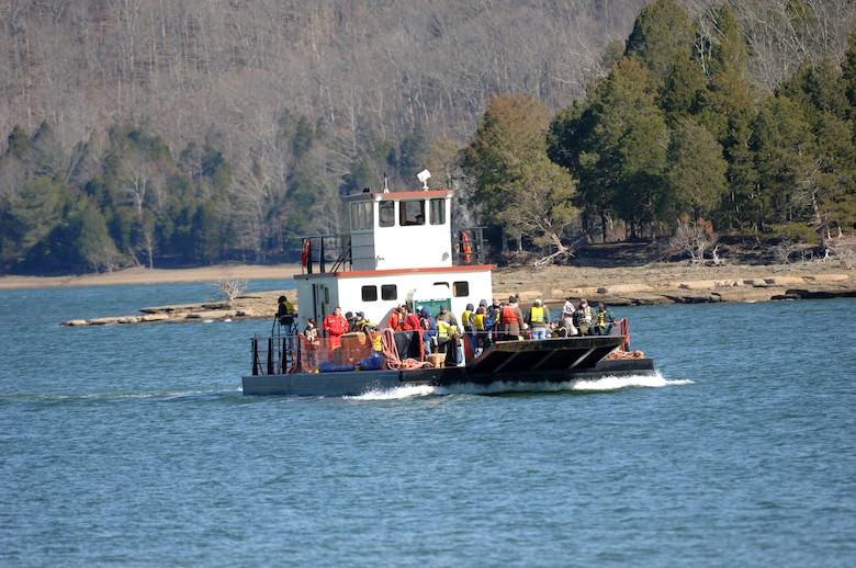 The public returns from a past Eagle Watch on Dale Hollow Lake. This year's event is cancelled due to COVID-19 and concerns with space limitations on the barge that transports visitors during this event. (USACE photo by Lee Roberts)
