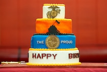 NORFOLK, VA (November 10, 2020) – A honorary birthday cake sits on display during a Fleet Marine Force Atlantic, U.S. Marine Corps Forces Command Marine Corps birthday ceremony at the Camp Elmore gymnasium. Marines commemorated the Marine Corps 245th birthday by highlighting its rich traditions, and honoring those who serve and have served in the Corps. (U.S. Marine Corps photo by Jonathan Donnelly/Released)