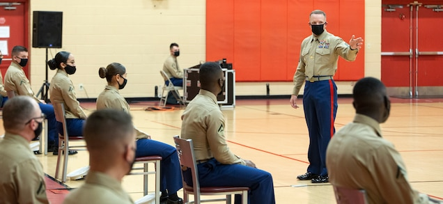 NORFOLK, VA (November 10, 2020) – U.S. Marine Corps Sgt. Maj. Bradley S. Driver, Sergeant Major of Headquarters and Service Battalion, Fleet Marine Force Atlantic, U.S. Marine Corps Forces Command offers Marines motivational remarks during a Marine Corps birthday ceremony at the Camp Elmore gymnasium. Marines commemorated the Marine Corps 245th birthday by highlighting its rich traditions, and honoring those who serve and have served in the Corps. (U.S. Marine Corps photo by Jonathan Donnelly/Released)