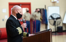 NORFOLK, VA (November 10, 2020) – U.S. Navy Capt. Steven Moses, Force Chaplain at Fleet Marine Force Atlantic, U.S. Marine Corps Forces Command offers an opening prayer during a Marine Corps birthday ceremony at the Camp Elmore gymnasium. Marines commemorated the Marine Corps 245th birthday by highlighting its rich traditions, and honoring those who serve and have served in the Corps. (U.S. Marine Corps photo by Jonathan Donnelly/Released)