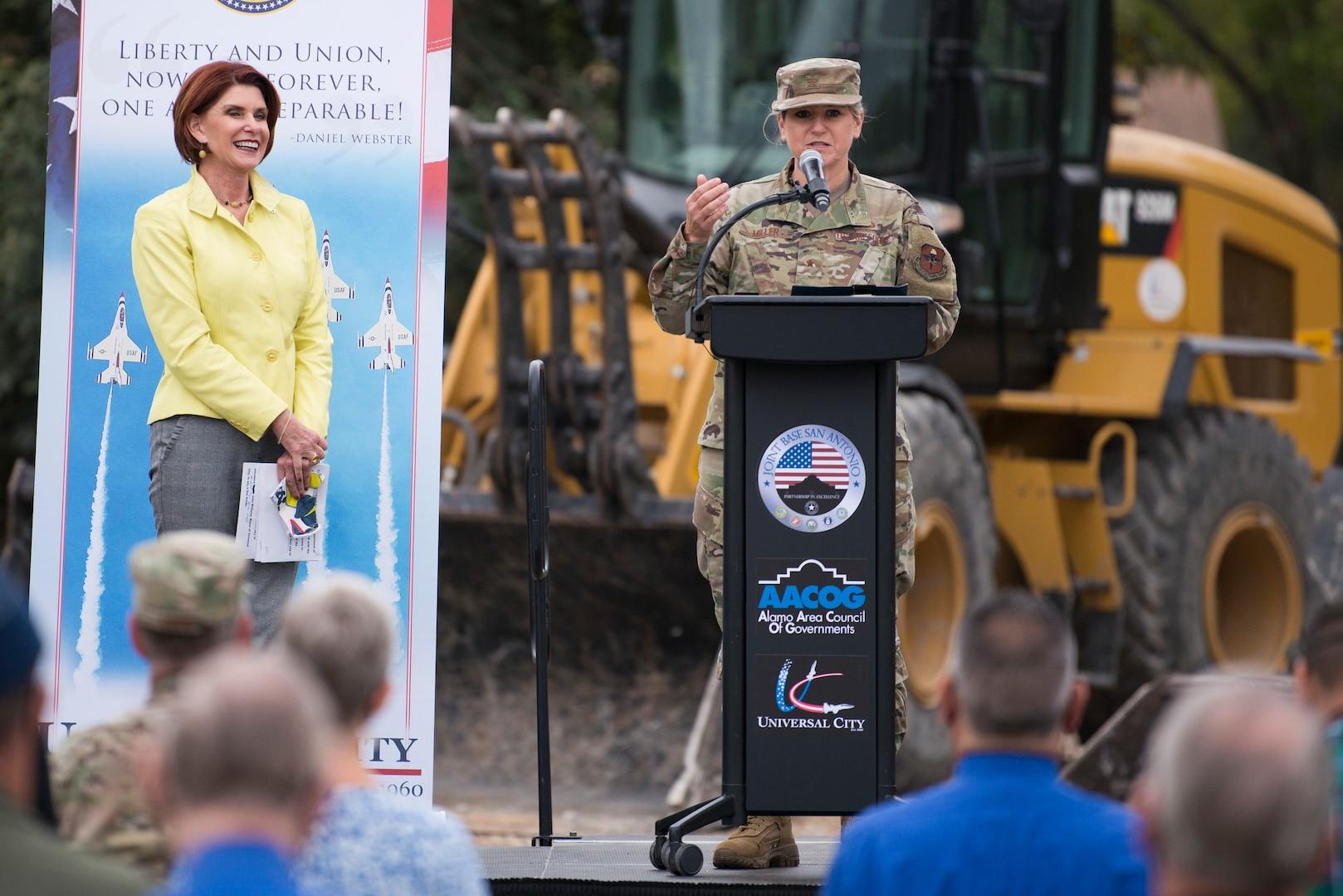 Brig. Gen. Caroline M. Miller, 502d Air Base Wing and Joint Base San Antonio commander, speaks during the Lindbergh Demolition Project partnership recognition event, Nov. 10, 2020, in Universal City, Texas.