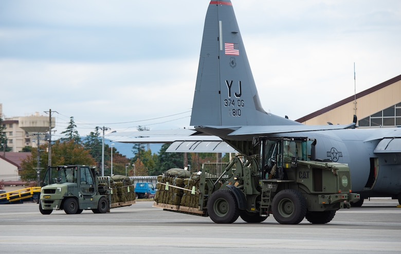 Japan Self-Defense Force containerized delivery system bundles wait to be loaded