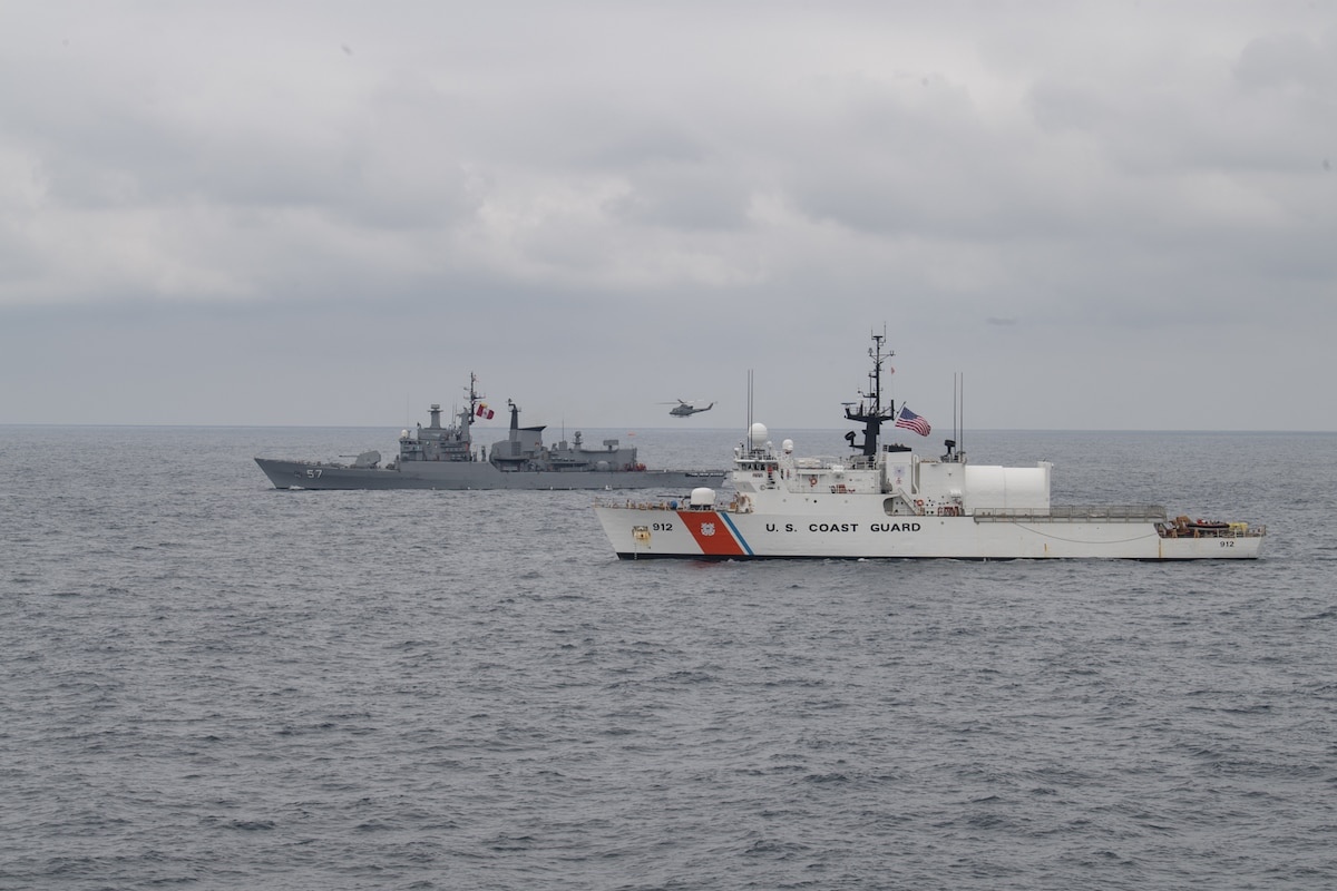 U.S. Coast Guard Cutter Legare (WMEC 912) and Peruvian Navy vessel BAP Bolognessi (FM 57) conduct naval formations during a training exercise for UNITAS LXI off the coast of Manta, Ecuador, Nov. 7, 2020.