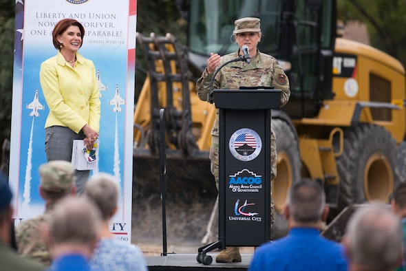 Brig. Gen. Caroline M. Miller, 502d Air Base Wing and Joint Base San Antonio commander, speaks during the Lindbergh Demolition Project partnership recognition event, Nov. 10, 2020, in Universal City, Texas.