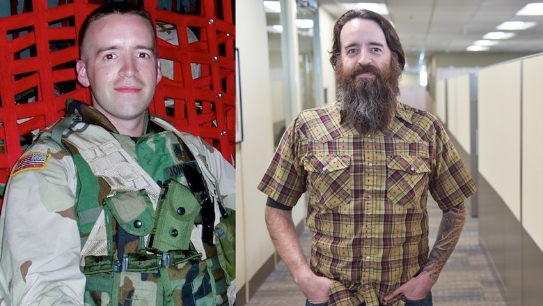 Left: Anthony Johnson, technical writer-editor (engineering) with the U.S. Army Corps of Engineers' Portland District, during his first deployment to Afghanistan, from 2004 to 2005. Right: Johnson in November 2019 at the district's headquarters in downtown Portland.