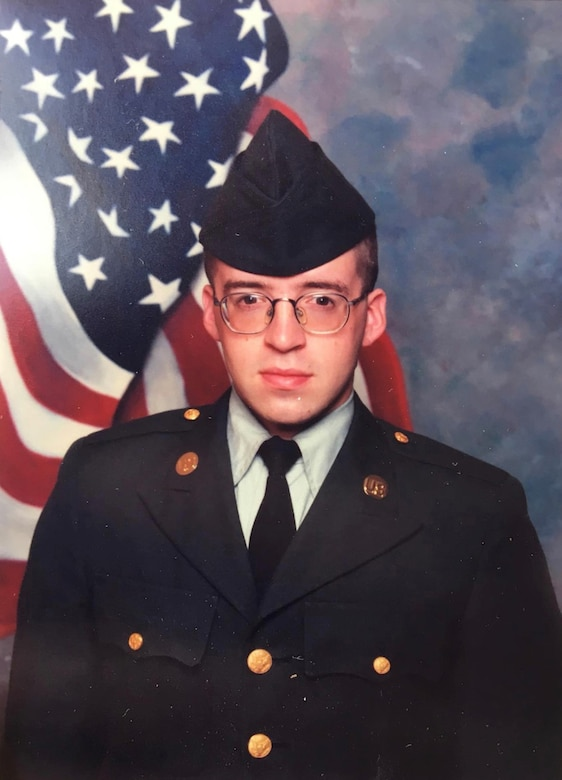 Anthony Johnson, technical writer-editor (engineering) with the U.S. Army Corps of Engineers' Portland District, during Army Basic Combat Training in 1997.