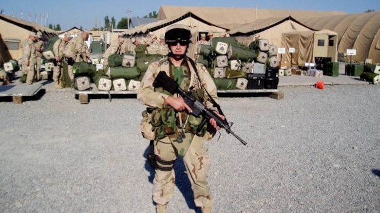 Anthony Johnson, technical writer-editor (engineering) with the U.S. Army Corps of Engineers' Portland District, during his first deployment to Afghanistan -- a yearlong tour from 2004 to 2005.
