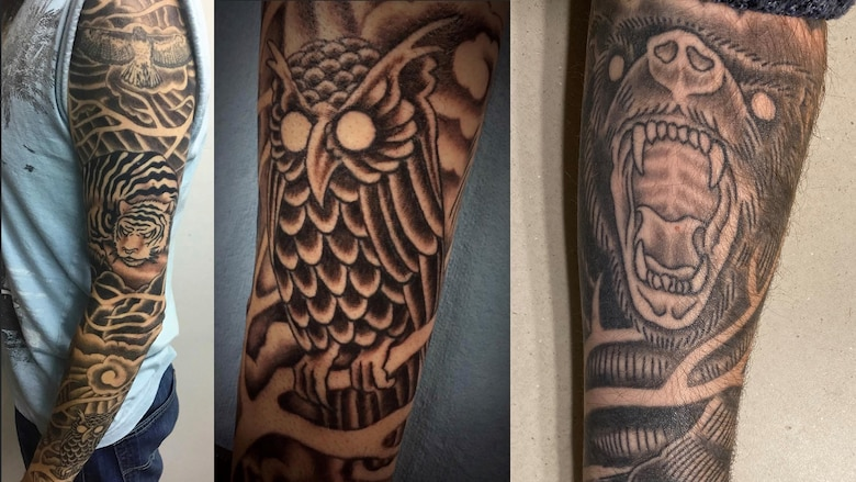 Anthony Johnson, technical writer-editor (engineering) with the U.S. Army Corps of Engineers' Portland District, shows the tattoo sleeve on his left arm -- a tribute to the various spirit animal guides that came to Johnson during Shamanic animal journeying meditations.