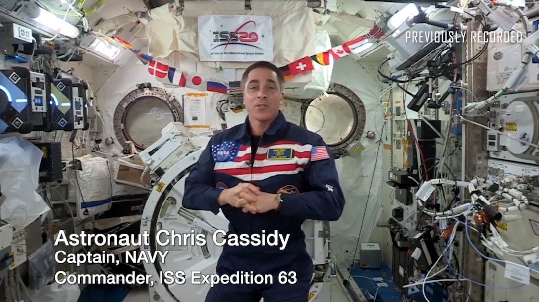 U.S. Navy Capt. Chris Cassidy sends a message to veterans from the International Space Station (ISS). (Courtesy video provided by NASA)